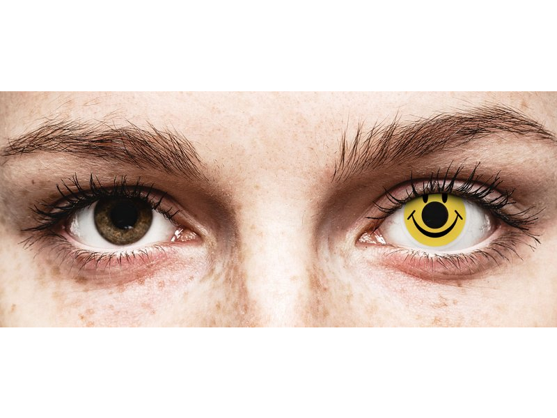 Lentilles de contact Jaune Smiley - ColourVue Crazy (2 lentilles)