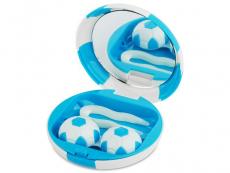 Étui à lentilles avec miroir Football - Bleu