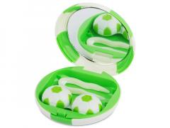 Étui à lentilles avec miroir Football - Vert