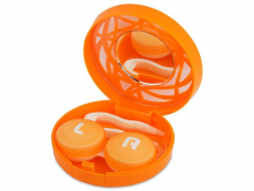 Étui à lentilles avec miroir - Orange Orné