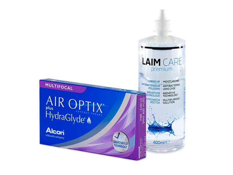 Air Optix plus HydraGlyde Multifocal (3 lentilles) + Laim-Care 400 ml