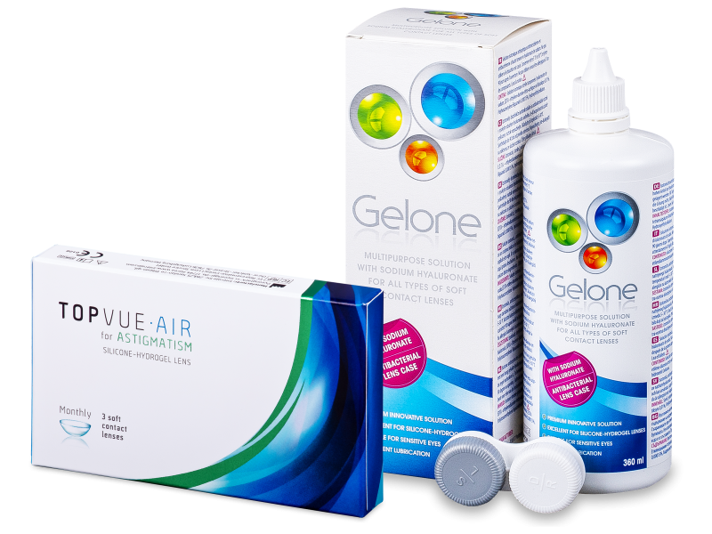 TopVue Air for Astigmatism (3lentilles) + solution Gelone 360 ml