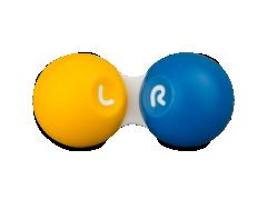Étui à lentilles de contact - jaune et bleu